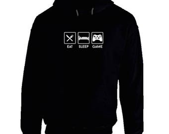 Funny Gaming Hoodies,Eat Sleep Game,cool gaming gear,gaming tops,gaming clothes,Xbox,PS4,video gamer,gamer,gifts for gamers