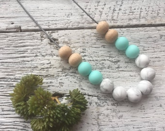 Handmade Silicone Beaded Necklace - Marble/Light Blue