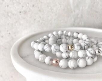 Matte White Howlite (Marble) Stretch Bracelet