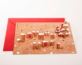 pop up cards wood with envelope - 3 Joyeux Noel cards