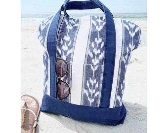 Ikat Tote Bag / YOGI TOTE / Large Beach Bag / Yoga Bag / Blue and White Woven Indian Ikat / Navy Blue Canvas Bottom / Pockets / Travel