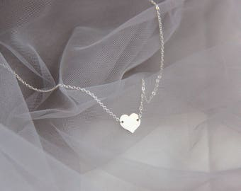 Sterling Silver Necklace, Heart Necklace, Pendant Necklace, Simple Necklace, Everyday Necklace