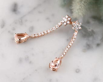 Teardrop Morganite and Diamond Chandelier Earrings | Solid 14 Karat Gold | Prong Setting | Polished Finish | Fine Jewelry | Free Shipping
