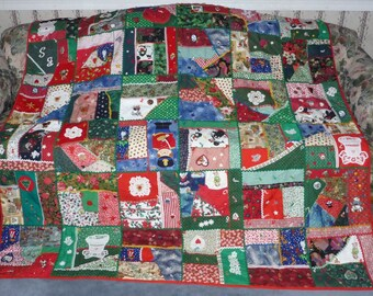 "Beautiful Unique Crazy Christmas Quilt - 77"" X 68"" - Excellent Clean condition"