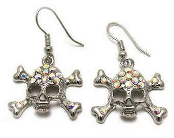 Pave Skull and Crossbones Earrings - 25% Off Coupon Code: SHOPATLUXE4FAVORITES