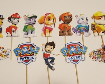 12 Paw Patrol Cupcake Toppers Cake Cuts Birthday Party Decorations Pops Supplies Decor