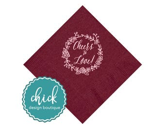 Cheers to Love! Flower Wreath Beverage Napkins Wedding Decor Fun Wedding Party Gifts Wedding Anniversary Party Gift Custom 1D259
