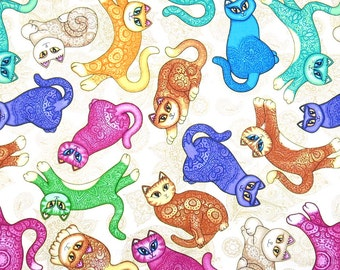 Tossed Cats: Cream Fabric; You Choose Size; 24721E; Quilting Treasures; A Tail of Two Kitties; Quilt, Craft, Apparel, Decor