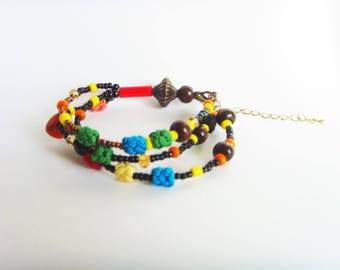 Colorful beads multi strand bracelet.