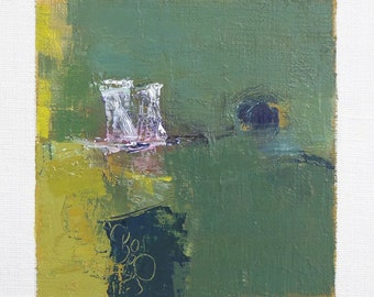 May 25, 2018 - Original Abstract Oil Painting - 9x9 painting (9 x 9 cm - app. 4 x 4 inch) with 8 x 10 inch mat