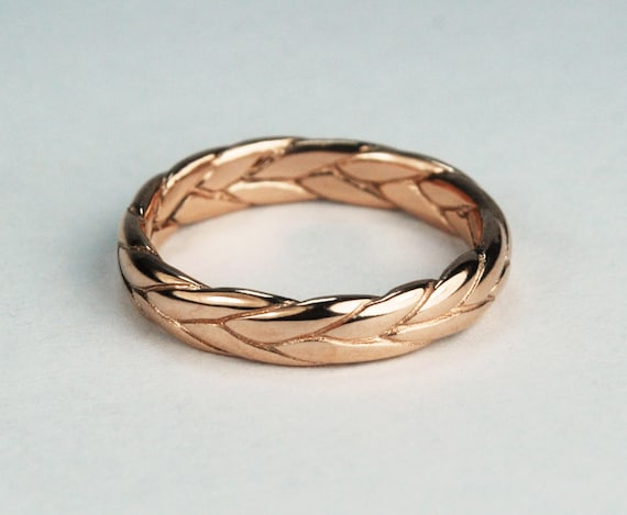 14k Rose Gold Wide Braid Ring with Low Profile-solid cast