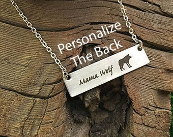 Mama Wolf Necklace Mama Wolf Bar Necklace Wolf Mama Necklace Mama Gift for Wolf Bar Mom Necklace Bar Jewelry Gift for Wife Mama Necklace