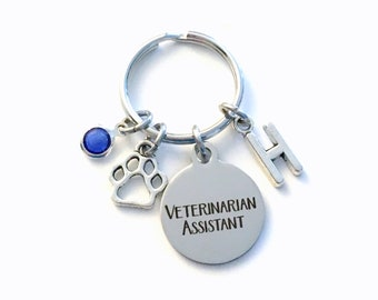 Veterinarian Assistant Keychain, Vet Assist Key Chain, Initial Birthstone Gift Present Graduate men women her paw graduation retirement tech