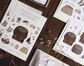 set 'the cozy knitter' // little sweater brooch + 2 sticker sets + 2 postcards