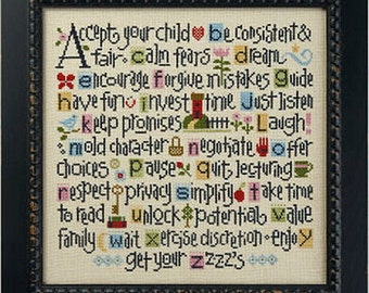 Lizzie Kate - ABCs of Parenting K52 - Counted Cross Stitch Pattern Chart and Threads
