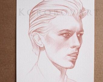 David Bowie Art Print, David Bowie Poster, David Bowie Print, David Bowie illustration,  David Bowie wall art, Music inspired art
