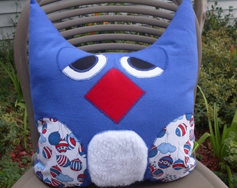 "Owl Pillow Large 13"" x  15"" Red White and Blue Patriotic  One of a Kind Ready to Ship"