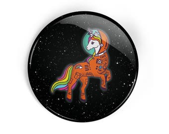 unicorn pin button, unicorn in a space suit, space unicorn pin, cute pin, unicorn badge, unicorn lover pin, space lover pin