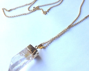 Crystal Quartz Pendant on Gold Chain