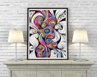 T l charger instant digital art dessin de mandala zentangle - Decoration chambre psychedelique ...