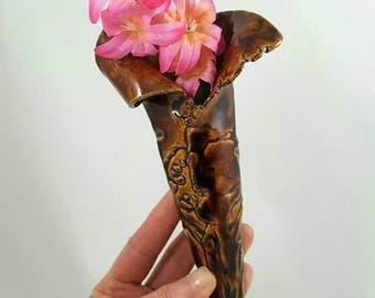 Wall pocket vase, wall pocket, ceramic hanging wall vase, clay wall vase, wall flower vase, pottery anniversary