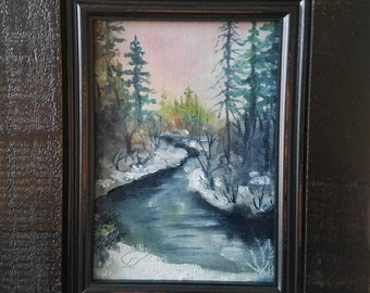Daily Art by Ben #22 Snowy River 5x7