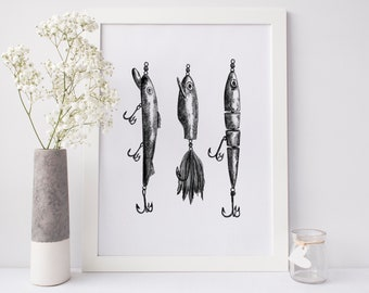 Fishing Lures Art, Fly Fishing Decor, Fishing Flies, Lure Wall Art, Lakehouse Art Decor, Dad Gift, Fishing Lover Gift Instant Download Files