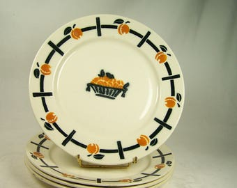 4 Badonviller plates orange apricot and black pattern Badonviller earthenware plates 1930 vintage  Made in France