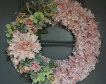 """Pink and White Floral Rag Wreath - Nursery decor - approx 20"""""""