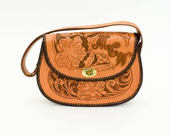 50s Tooled Leather Handbag | Brown & Tan Tooled Leather Purse