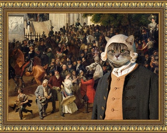 Tabby Cat American Shorthair Fine Art Canvas Print - Parade in Opernplatc Berline