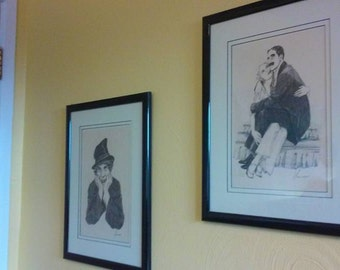 Pair of 1970's Lithographs by LANSE, 1 of Harpo and 1 of Gloria Stuart & Groucho
