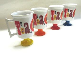 1960s Pedestal Cups Set of Four Pop Art Arnart 5th Avenue 2258