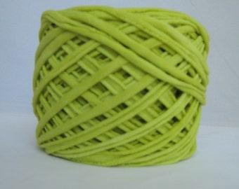 T Shirt Yarn, Hand Dyed, Chartreuse T Shirt Yarn, Yellow Green Yarn, Green T Shirt Yarn, Jersey Yarn, Cotton Yarn, 60 Yards