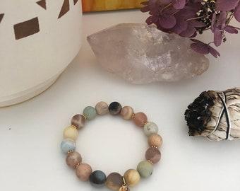 Multi-Amazonite and Multi-Faceted Moonstone Mala Bracelet