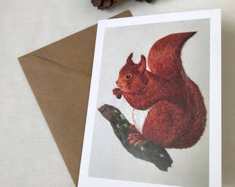 Red Squirrel Greeting Card from Hand Embroidery - 100% Recycled Card