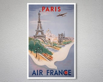 Paris Air France  Airline Travel Poster - Poster Print, Sticker or Canvas Print / Gift Idea