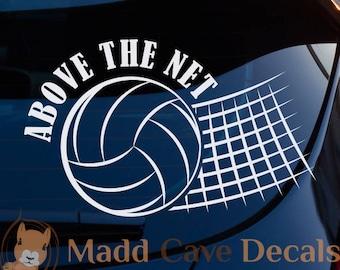 Above The Net Volleyball Vinyl Decal Sticker