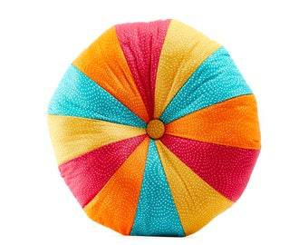 Speckled Rainbow Round Patchwork Pouffe Cushion (Free UK P&P)