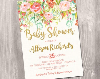 baby shower invitation girl, floral baby shower invitation, watercolor invitation, flower invitation, pink, printable invitation