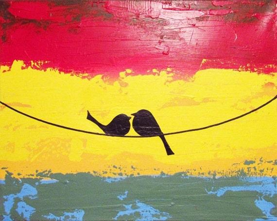 love bird painting abstract landscape nursery canvas wall art