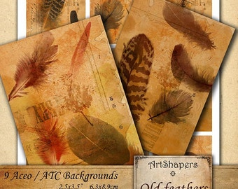 OLD FEATHERS - Aceo backgrounds, jewelry holders,instant download paper, vintage images,digital collage sheet DCS100