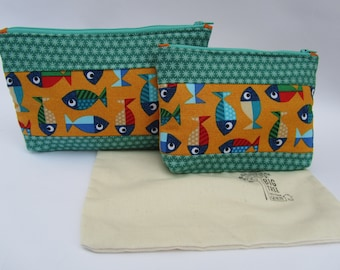 Quilted Zipper Pouch Set Fish Tales