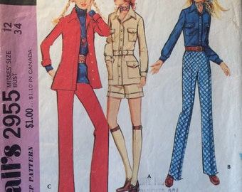 "1970s McCall's Women's Coordinated Separates Pattern #2955 Size 12 Bust 34""  Vintage McCall's Pattern / 70s McCall's / 70s Pattern"