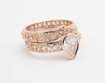 14K Rose Gold Vintage Engagement Rings Bezel Set Pear Shape Diamond Wedding Ring Set Women Filigree Gold Ring