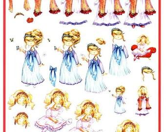 111 - Image sheet by cutting small Princess romantic girl