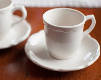 Pair of Syracuse Demitasse Cups | Set of 2 | Espresso Cups | Syracuse China | Winthrop Shape | White