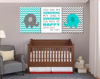 Elephant Nursery Gray and  Turquoise Wall Art, You are my sunshine Wall Art, Elephant Nursery Art, Printable Nursery Decor, set of prints