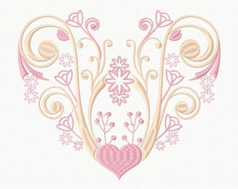 Machine Embroidery Design - Abstract Heart Swirls #05