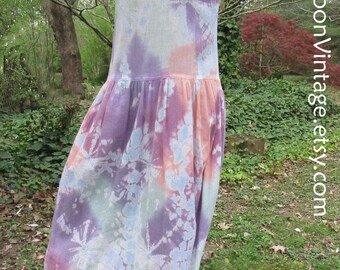 Vintage 70s TIE-DYE DRESS, Hippie Boho dress, cotton gauze maxi midi, long sleeveless sundress, Festival dress, pastel rainbow tie-dye! S/xs